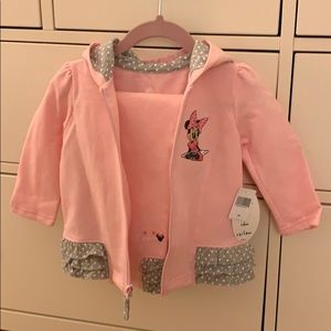 Minnie Mouse Light Pink Matching Zip-Up and Pants